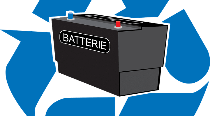 car battery, recycle sign