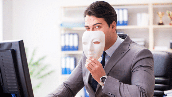businessman with a mask